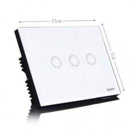 Interruttore Touch 1, 2 o 3 linee, Bianco Vetro temperato alta qualità con radiocomando adatto per domotica