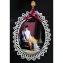 Bomboniera con merletto targa Ovale Personalizzata in Porcellana