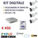 KIT VIDEOSORVEGLIANZA IP NVR 4k 9 CANALI ONVIF 2.4 POE 4 TELECAMERE IP 2 MPX BULLET ONVIF